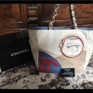 Rare Authentic Chanel chain number 5 tote bag